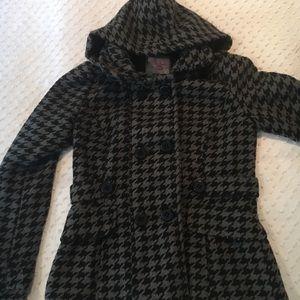 Black and Grey Hooded Pea Coat